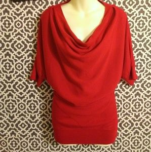 Calvin Klein Red Scoop Neck Acrylic Blouse Small